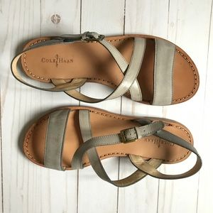 Cole Haan grey and tan sandals